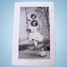 French Real Photo Postcard, Girls, Doll on Swing, 1912 Postmark