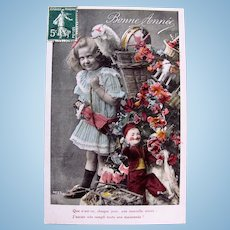 Tinted French Real Photo Postcard, Girl, Dolls and Toys, Circa 1910s