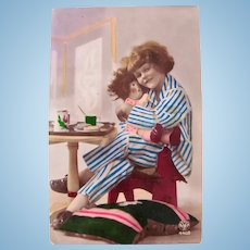Tinted French Real Photo Postcard, Breakfast With Doll, Dated 1931