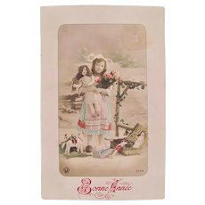 Tinted French Real Photo Postcard, Girl, Dolls and Toys, Dated 1910