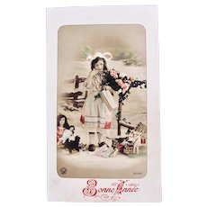 French Tinted Real Photo Postcard, Peasant Girl, Dolls, Toys, 1910