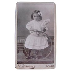 French Cabinet Card Photograph, Little Girl, Doll and Hoop, Lyon, Early 1900s