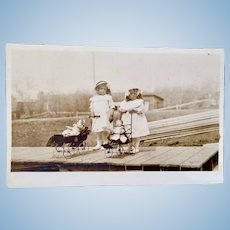 British Real Photo Postcard, 2 Girls With Dolls in Strollers, Circa Early 1900s