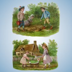 Victorian Die Cut Scrap, Doll and Children At Play, 2 Pieces