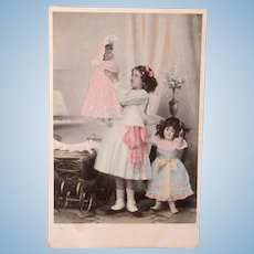 Dutch Real Photo Postcard, 2 Gorgeous Dolls with Girl, Postmarked 1906
