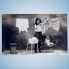 French Real Photo Postcard, Laundry Day, Girl & Doll, Postmarked 1905