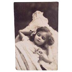 French Real Photo Postcard, Sleeping Girl and Doll, Circa 1910s