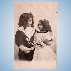 French Real Photo Postcard, Bergeret, Brother, Sister & Doll, Postmarked 1904
