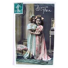 Hand Tinted French Real Photo Postcard, Girl and Doll, Happy Birthday, 1910s