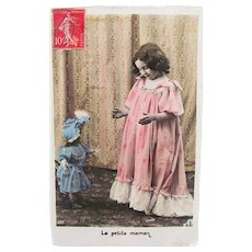 Hand Tinted French Real Photo Postcard, Girl and French Fashion Doll, Little Mother, 1908