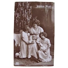 French Christmas Card, Mother and Daughters, Xmas Tree, Doll, Real Photo Postcard, Circa 1917