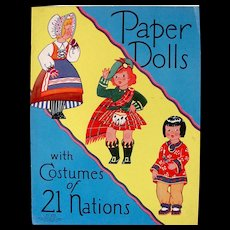 Paper Dolls With Costumes of 21 Nations, Uncut, Saalfield, 1938