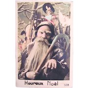 Hand Tinted French Real Photo Postcard, Christmas, Santa, Doll, Musical Instruments, Early 1900s