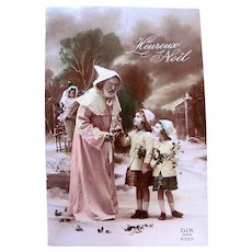 French Tinted Real Photo Postcard, Pink Robe Santa, Doll, Girls, Christmas, Circa 1930s