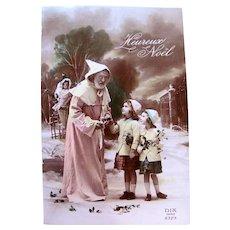 French Tinted Real Photo Postcard, Pink Robe Santa, Doll, Girls, Christmas, Circa 1930s