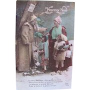 Tinted French Real Photo Christmas Postcard, Brown Robe Santa, Mother and Children, Dated 1916