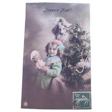 Hand Tinted French Real Photo Postcard, Lilac Robe Santa, Girl, Doll, Tree, Christmas, 1910s