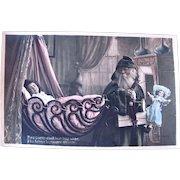 Tinted French Real Photo Postcard, Santa Claus, Dolls, Sleeping Child, Circa 1910s
