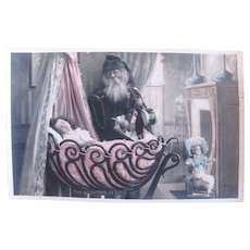 Tinted French Real Photo Postcard, Pere Noël, Toys, Dolls and Sleeping Girl, Circa 1910s