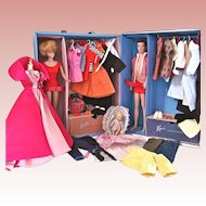 Barbie and Ken Dolls, Trunk and Clothing, Mattel, Vintage 1962-63