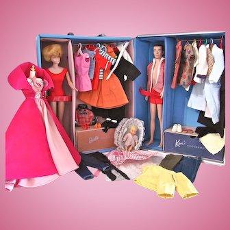 Barbie and Ken Dolls, Trunk and Clothing, Mattel, Vintage 1962-63