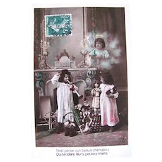 Hand Tinted French Real Photo Postcard, Cherub, Children, Dolls and Toys, Christmas, 1909
