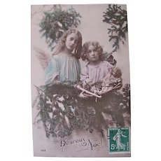 Tinted French Real Photo Postcard, Angels, Doll and Toys, Christmas, 1911