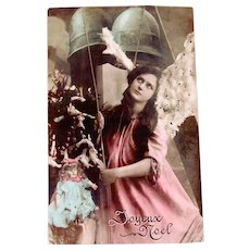 Tinted French Real Photo Postcard, Pink Angel, Doll, Tree and Bells, Christmas, 1906