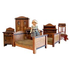 German Dollhouse Furniture, Wooden Bedroom Set, 7 Pieces, Early 20th Century