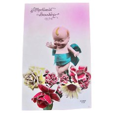 Tinted French RPPC, Kewpie-Type Doll and Flowers, Circa 1920s