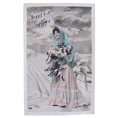 Hand Tinted French Real Photo Postcard, Lady, Dolls and Toys #3, Early 1900s