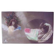 German Tinted Real Photo Postcard, Child, Angel and Doll, Christmas, Circa 1910s