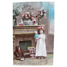 Tinted French Real Photo Postcard, Girl, Dolls and Toys, Dated 1922