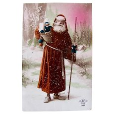 French Real Photo Postcard, Orange Robe Santa, Dolls and Toys, Dated 1923