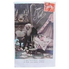 French Tinted Real Photo Postcard, Santa, Dolls, Toys and Sleeping Child, Circa 1910s