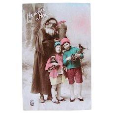 French Tinted Real Photo Postcard, Santa, Girl & Doll, Boy & Wagon, Dated 1922