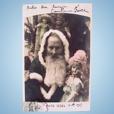 French Tinted Real Photo Postcard, Santa and Dolls, Postmarked 1906