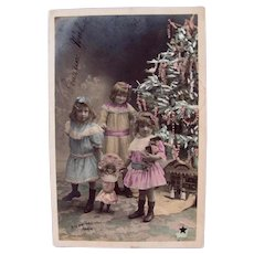 French Hand Tinted Real Photo Postcard, 3 Sisters, 4 Dolls, Christmas Tree, Postmarked 1904