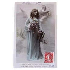 Tinted French Real Photo Postcard, Angel & Doll-shaped Candy Container, Dated 1909