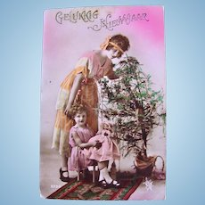 French Tinted Real Photo Postcard, Woman, Girl and Doll, Postmarked 1922