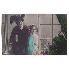 Tinted Real Photo Postcard, Woman, Girl, Dolls and Windmill, Circa 1910s