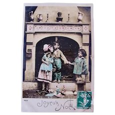 Hand-Tinted French Real Photo Postcard, Children, Dolls and Toys, Circa 1910s