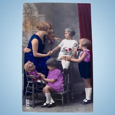 Tinted French Real Photo Postcard, Family, Doll and Toys, Postmarked 1930