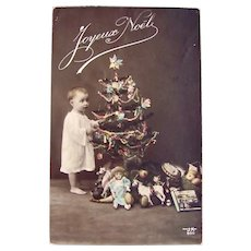 French Tinted Real Photo Postcard, Baby, Dolls, Toys & Tree, Dated 1912