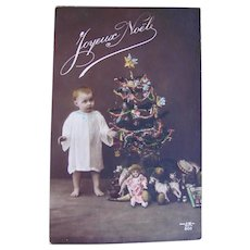 Tinted French Real Photo Postcard, Toddler, Dolls, Toys & Tree, Circa 1910s