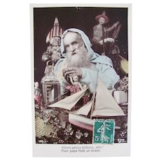 French Tinted Real Photo Postcard, Blue Robe Santa, Dolls and Toys, Dated 1909