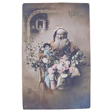 French Tinted Real Photo Postcard, Orange Robe Santa and Dolls, Postmarked 1901