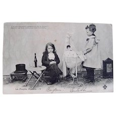 French Real Photo Postcard, The Sick Doll, Postmarked 1904
