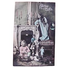 Tinted French Real Photo Postcard, Dolls, Toys, Girls & Violin, Dated 1911