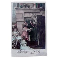 Tinted French Real Photo Postcard, Girls, Dolls & Toys, Joyeux Noël, 1910s